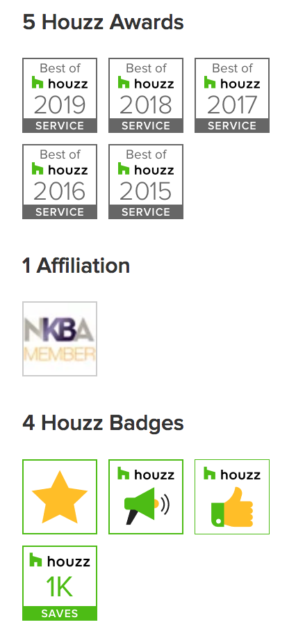 Best of Houzz awards and badges