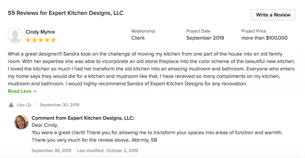 Houzz Review for Expert Kitchen Designs